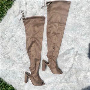 Wild Dive Thigh High Peep Toe Open Heel Boots 8.5